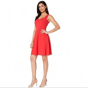 Scalloped Neckline Fit & Flare Apple Red Dress